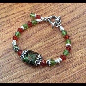 Jewelry - Lampwork Glass Swarovski Czech Sterling Bracelet